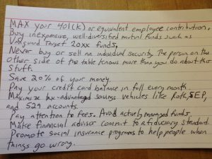 simple free best personal finance advice that fits on a 3×5 card