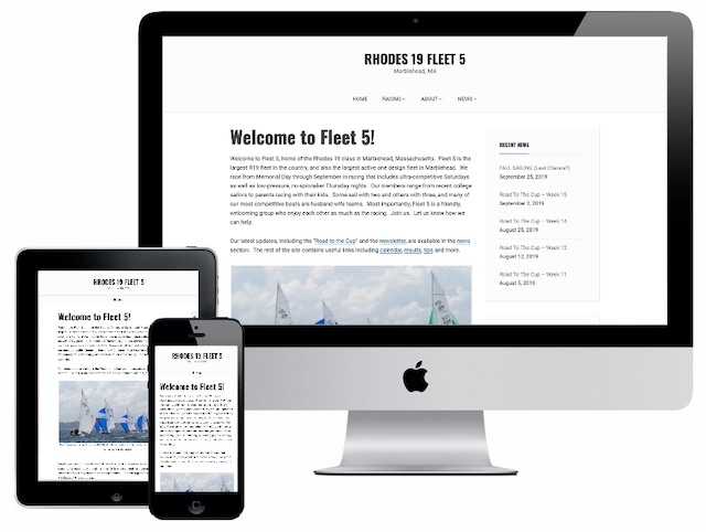 Marblehead's Rhodes 19 Fleet wanted a new site that worked on phones and was simple to update weekly.